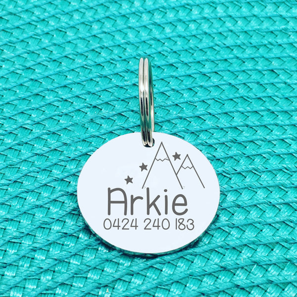 Personalised Pet Tag, 'Arkie' Mountain Design (Personalised Custom Engraved Dog Tag /  Personalised Cat Tag)
