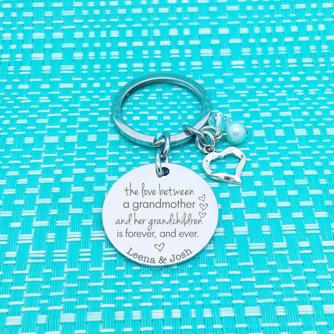 The Love between a Grandmother and her Grandchildren is forever Personalised Keyring