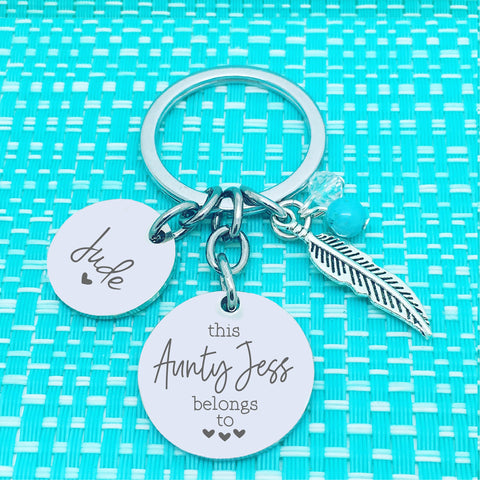 This Aunty Belongs To Personalised Keyring (Personalise With A Name Of Your Choosing)