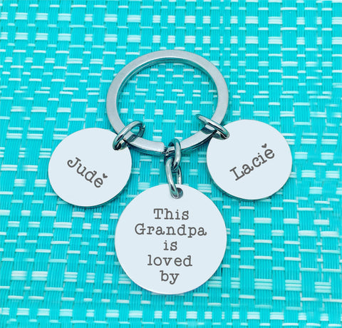 This Daddy Is Loved By Multi Pendant Personalised Keyring (Dedicate to another person of your choosing)
