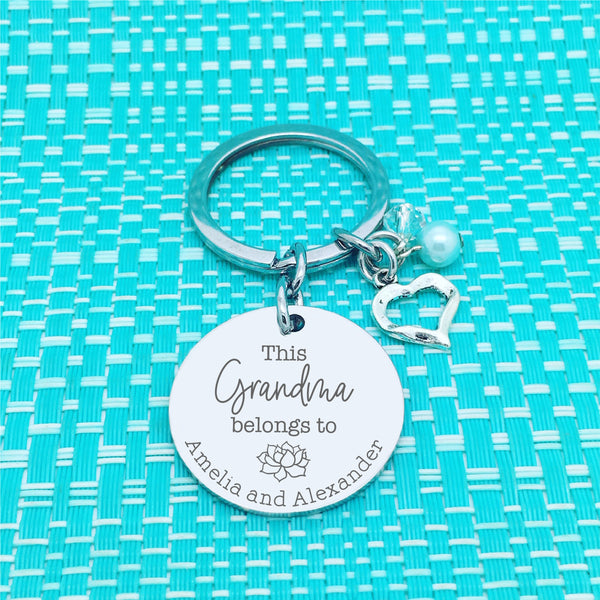 This Nanna Belongs To Personalised Keyring, Flower Design (Change Nanna to another name of your choosing)