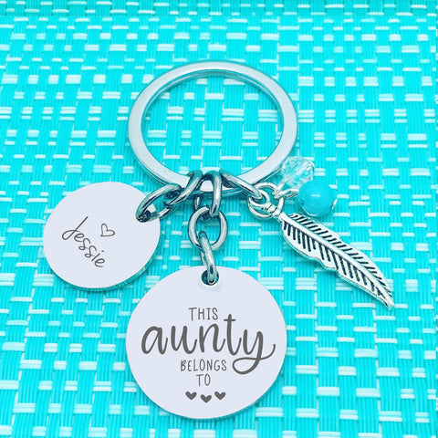 This Aunty Belongs To Personalised Keyring (Change The Spelling of Aunty)
