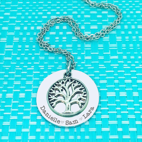 Personalised Tree Of Life Family Name Necklace (Personalise This Piece With Names Of Your Choosing)