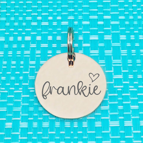 Rose Gold Personalised Dog Tag, Frankie Heart Design (Personalised Dog Tag / Personalised Cat Tag)