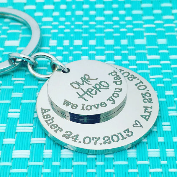 Our Hero, We Love You Dad Personalised Multi Layer Keyring (Change Dad To Another Name Of Your Choosing)