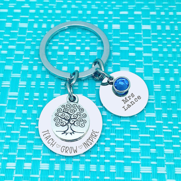 Teach Grow Inspire Personalised Keyring (Teacher Gift, Personalised Teacher Gift)