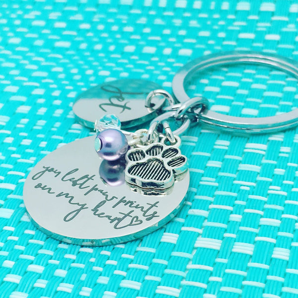 Personalised Pet Memorial Gift, You Left Paw Prints On My Heart Personalised Keyring