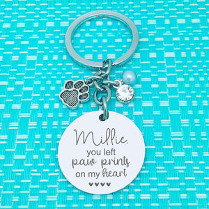 Copy of Pet Memorial Keyring, You Left Paw Prints On My Heart Personalised Keyring