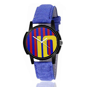 wt1002- Unique & Premium Analogue Watch 10 Messi Print Multicolour Dial Leather Strap (10 W)