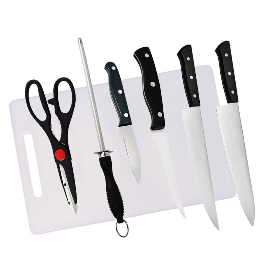 312 Kitchen Combo -Stainless Steel 4pc Knife, Sharpening Steel and Scissor with Cutting Board