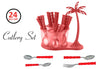 111 Dining/Cutlery Set with Coconut Tree Design stand(24pcs)