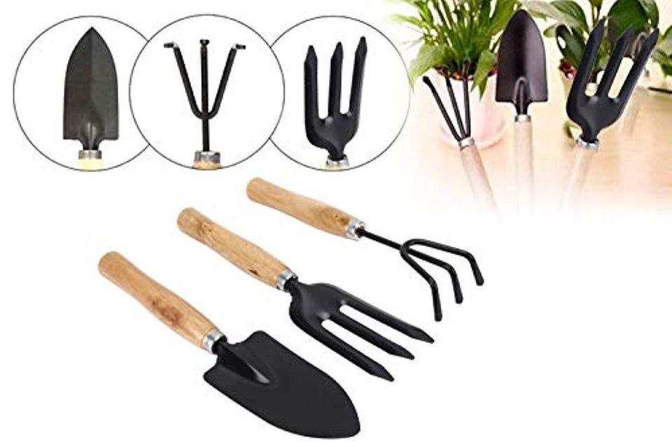 Glamified Gardening Tools - Falcon Gloves, Flower Cutter/Scissor & Garden Tool Wooden Handle (3pcs-Hand Cultivator, Small Trowel, Garden Fork)