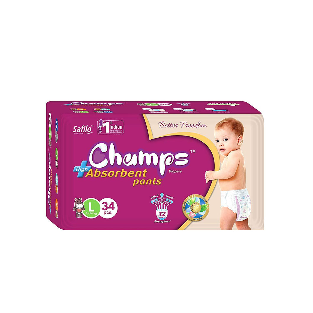 954 Premium Champs High Absorbent Pant Style Diaper Large Size, 34 Pieces (954_Large_34)