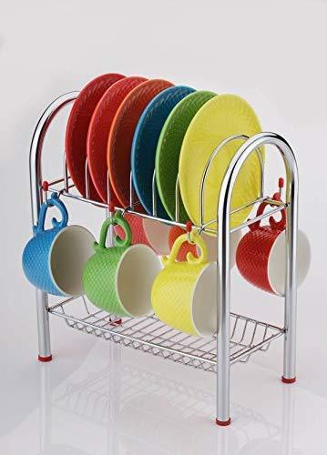 746_Stainless Steel 2 Layer Plate & Bowl Stand Kitchen Utensil Rack/Cutlery Stand