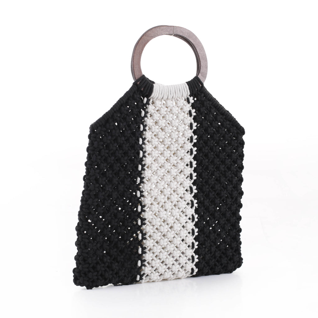 Riley Stripe Crochet Wood Handle Bag