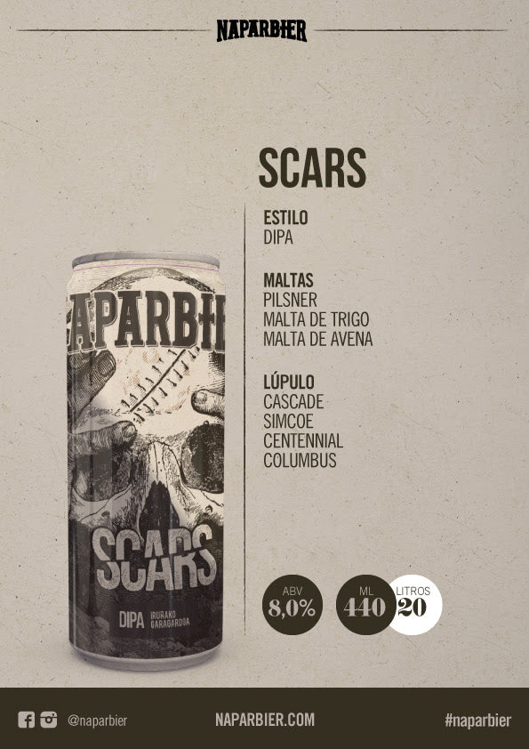 NAPARBIER Scars - Doble IPA Alc. 8% - 44cl