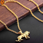 Attache du Collier Lion Jaune en Acier