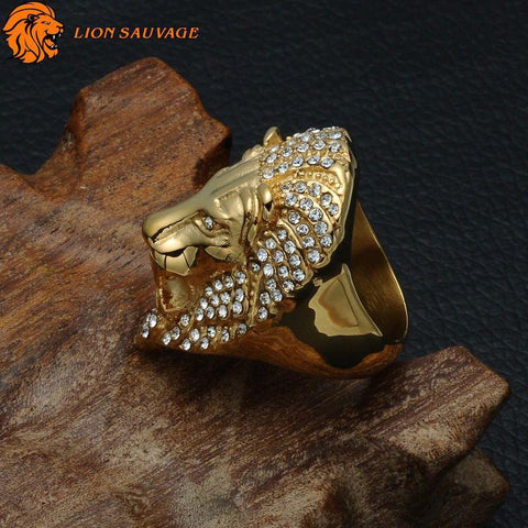 Bague Lion de la Jungle de profil