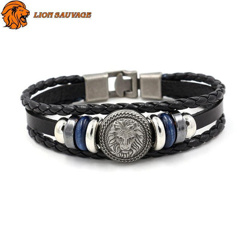 Bracelet Coeur de Lion Antique en cuir