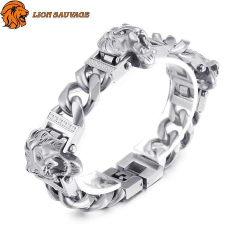 Bracelet Lion Association Dominante Acier