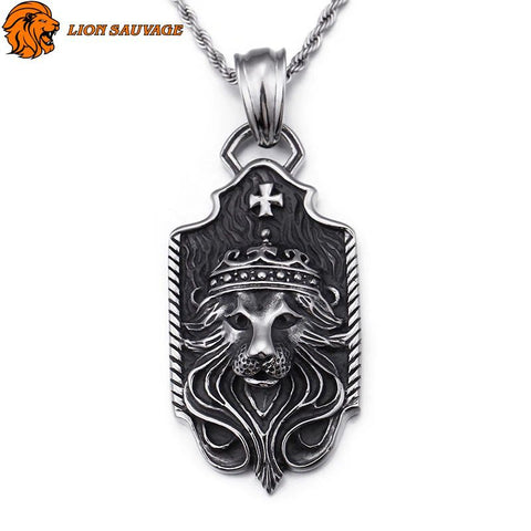 Collier Acier Lion Antique