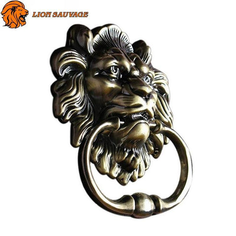 Heurtoir de Porte Tete de Lion Antique de profil
