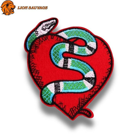 Patch Serpent Coeur Rouge Thermocollant