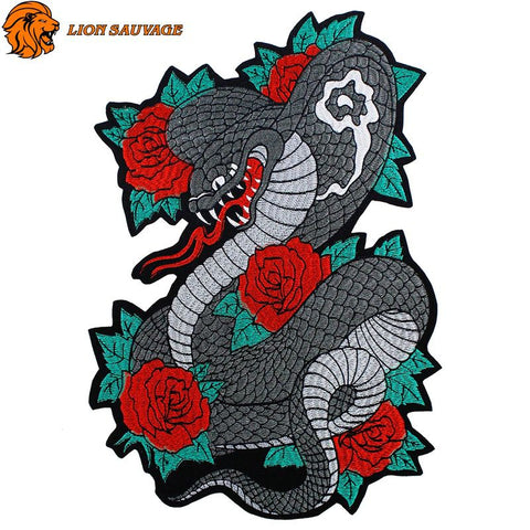 Patch Serpent Rose à coudre