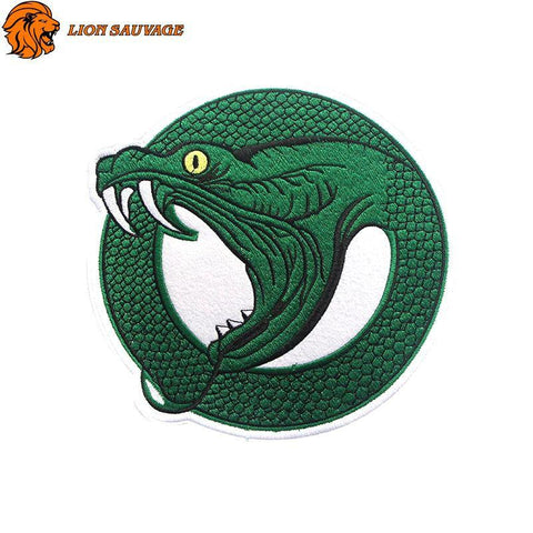 Écusson Serpent Vert Thermocollant Lion Sauvage