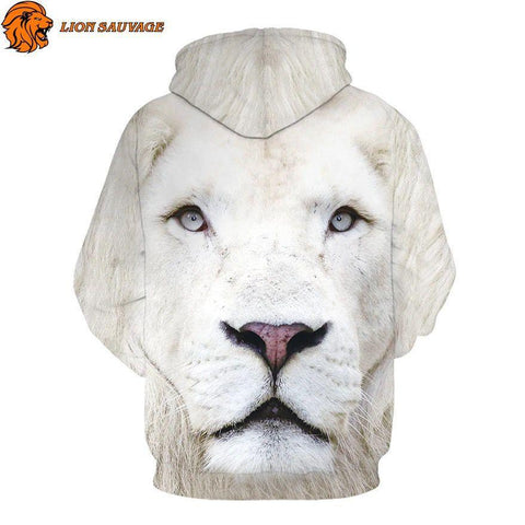 Sweat Lion Blanc avec capuche