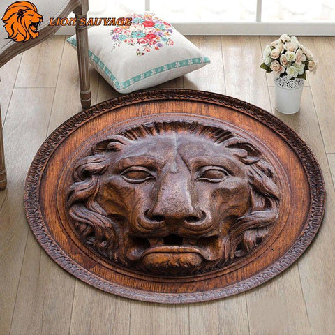Tapis Lion Antique sur parquet