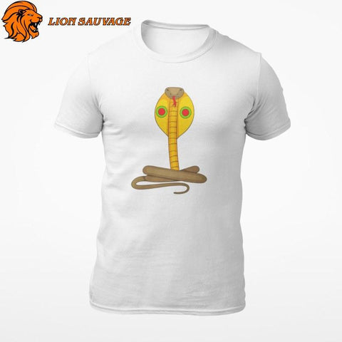 T-Shirt Serpent Cobra Blanc Lion Sauvage