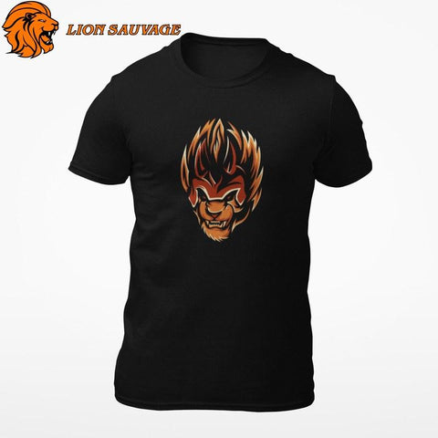 T-shirt Lion Flamme en coton