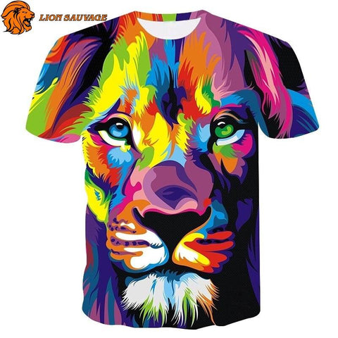 T-Shirt Lion Multicolore en coton