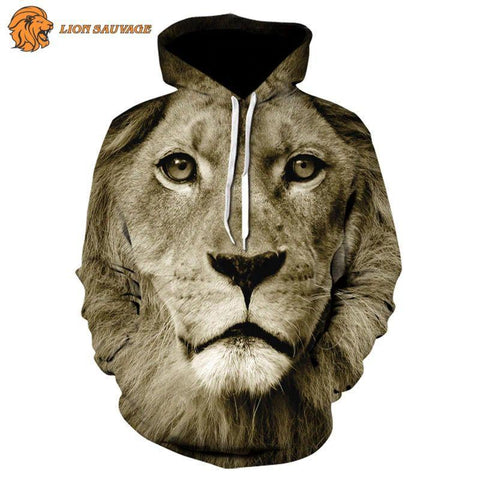 Sweat-shirt Lion a l'Affut