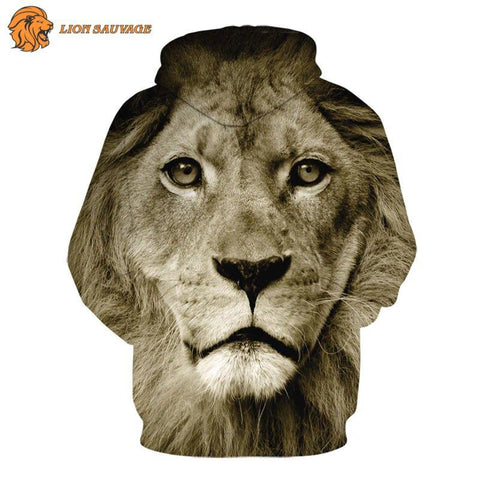Sweat Capuche Lion a l'Affut