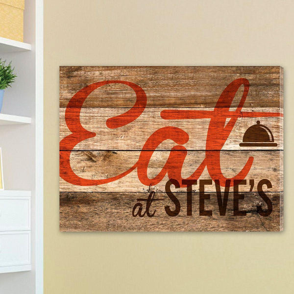 Personalized Reclaimed Wood Kitchen Family Canvas Sign - Groomdom