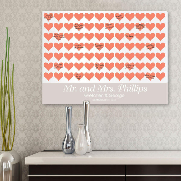 Personalized Guestbook Canvas - Poppy Hearts - Groomdom