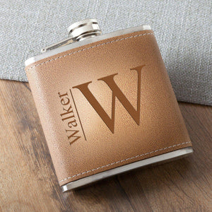 Personalized 6 oz. Leather Hide Flask - Groomdom