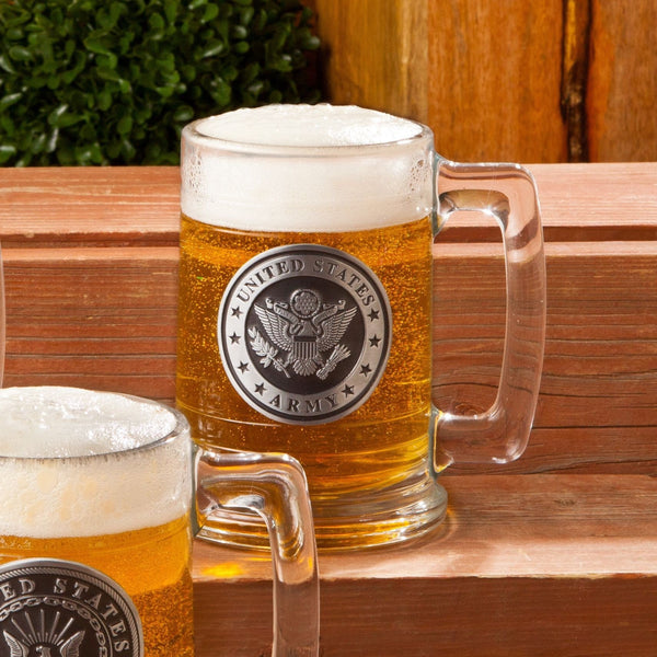Personalized Military Emblem Steins - All Branches - Groomdom