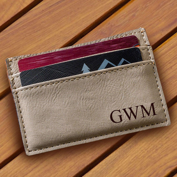 Personalized Tan Money Clip & Wallet - Groomdom