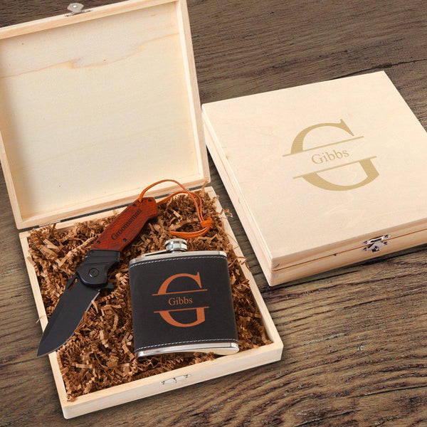 Personalized Stirling Groomsmen Flask Gift Box Set - Groomdom