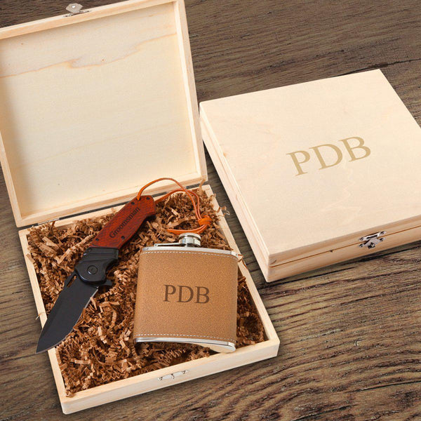 Personalized Perth Groomsmen Flask Gift Box Set - Flask and Knife Set - Groomdom