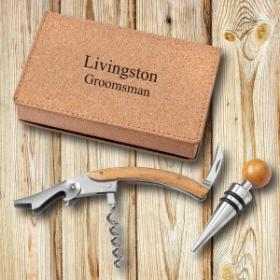 Personalized Wine Opener Set - Cork - Groomdom
