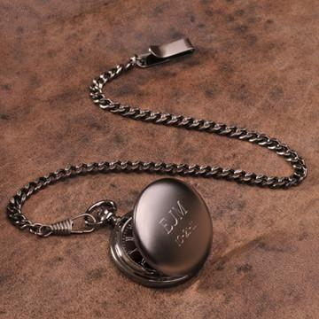 "Personalized Pocket Watch - Gunmetal - 1.5"" Diameter - Groomdom"