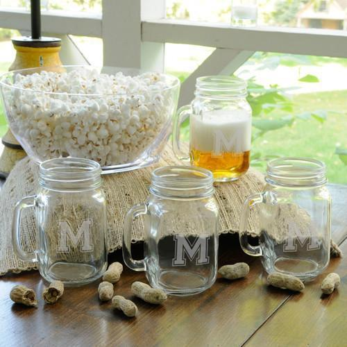 Personalized Collegiate Glass Jar Set of 4 - Groomdom