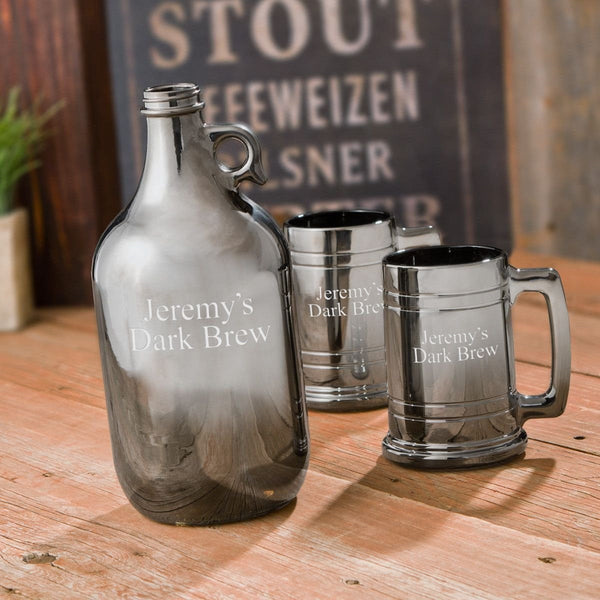 Craft Beer Personalized Gunmetal Growler and Beer Mug Set - Groomdom