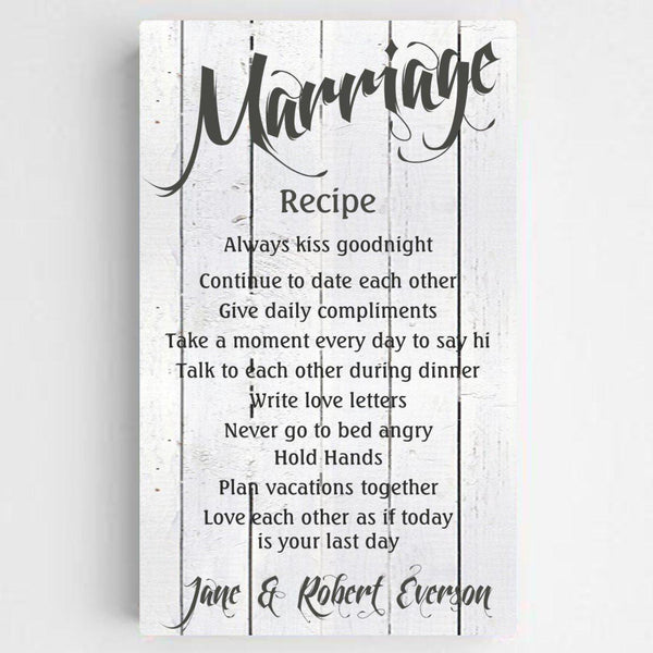 Personalized Marriage Recipe Canvas Print - Groomdom