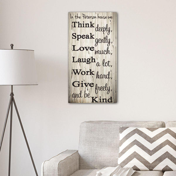 Think Speak Love Personalized Canvas Print - Groomdom