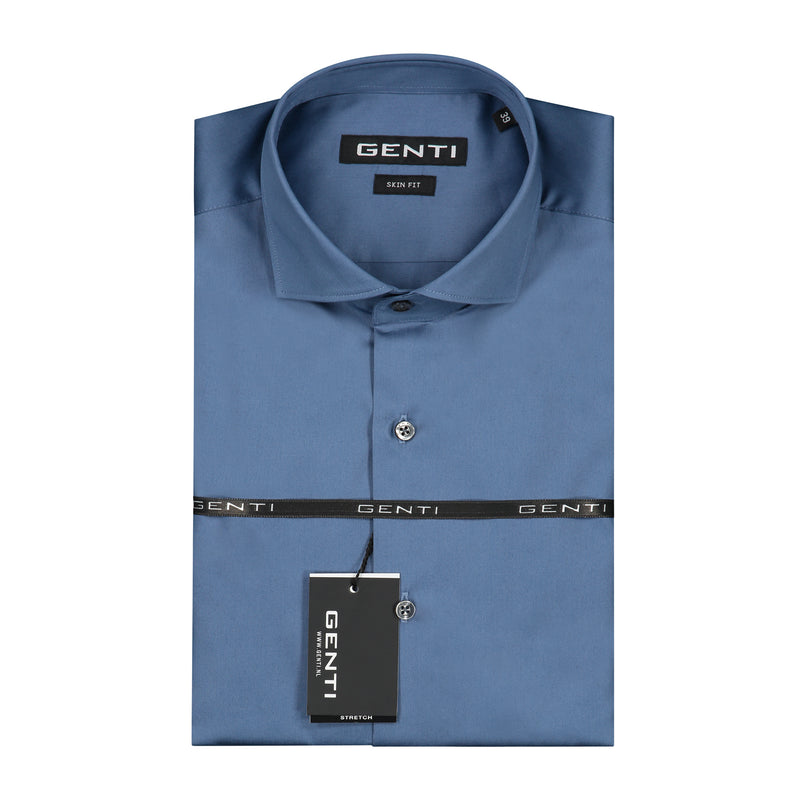 Blauw skin-fit shirt - 1722.39.018